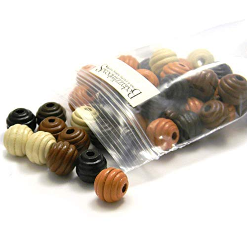 50 Big Assorted Natural Colored 15mm Round Fluted Wood Beads with Large 4mm Hole ()