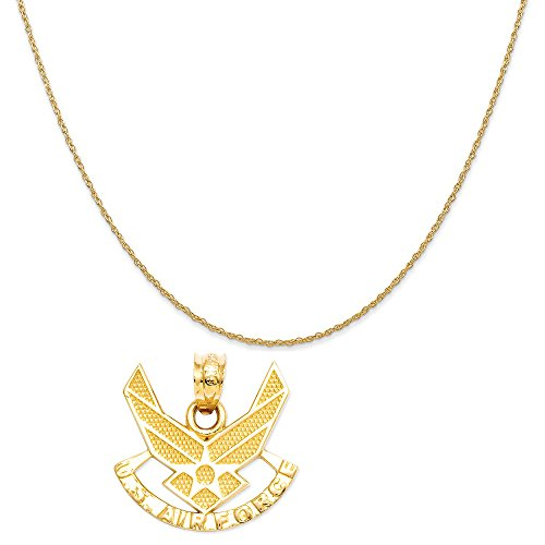 (Mireval 14k Yellow Gold U. S. Air for ce Pendant on a 14K Yellow Gold Rope Chain Necklace, 16