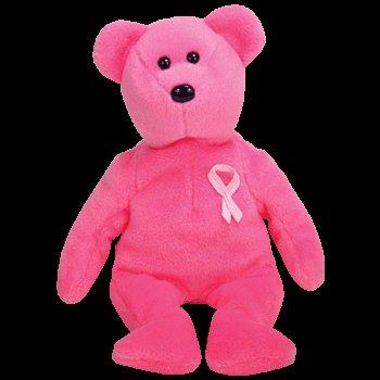 Aware Pink Ribbon - Ty Beanie Baby Aware Bear Breast Cancer Awareness Pink Ribbon Teddy