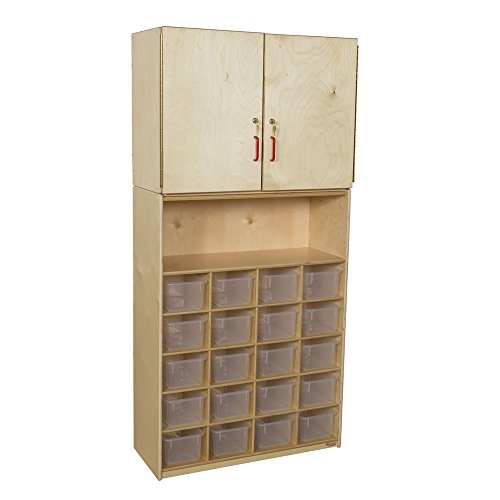 """Wood Designs WD56201(20) Baltic Birch Plywood Tray Vertical Storage Cabinet with Translucent Trays 15x36x75"""" (H x W x D)"""