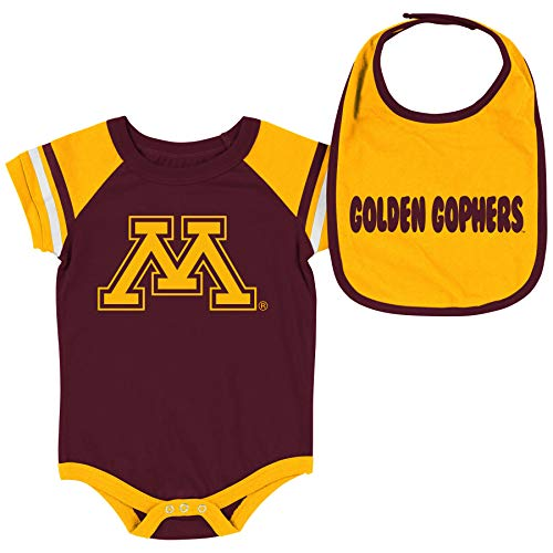 Colosseum NCAA Baby Short Sleeve Bodysuit and Bib 2-Pack-Newborn and Infant Sizes-Minnesota Golden Gophers-3-6 Months