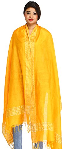 Exotic India Plain Dupatta from Jharkhand with Woven St - Color Saffron (Woven Scarf Plain)