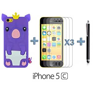 Style Silicone For Iphone 5C Case Cover - Purple with 3 Screen Protectors and Stylus