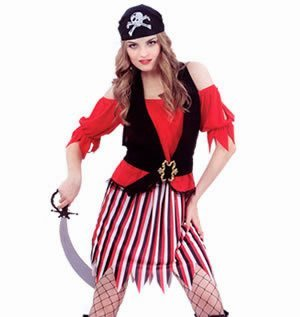 [Ladies Fancy Dress Costume Pirate Beauty Buccaneer by Pams] (Buccaneer Beauty Costume)