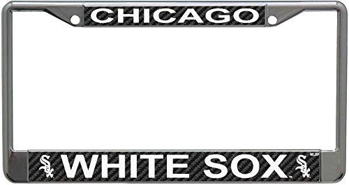 Stockdale Chicago White Sox Carbon Fiber Design LASER FRAME Chrome Metal License Plate Tag Cover Baseball - Chicago White Sox Laser