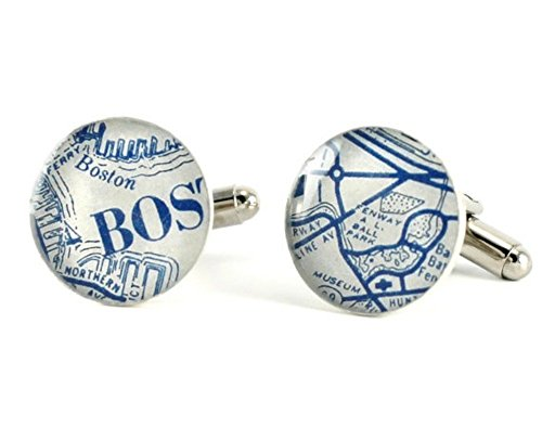 Boston Red Sox Vintage Map Cuff Links by DLK Designs