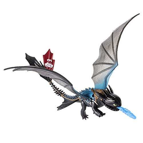 Action Figure Race - Dreamworks Dragons: Toothless Action Dragon Figure with Blue Missile Fire Attack, Blue Back with Saddle and Red Flap