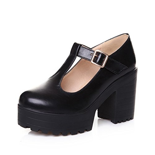 - Milesline Fashion Women's Round Toe Platform Shoes T-strap Chunky Heel Mary Jane Pumps