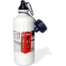 3dRose wb_56177_1 Londons Famous Red Phone Booths Sports Water Bottle, 21 oz, White