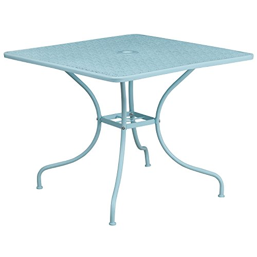 Flash Furniture 35.5'' Square Sky Blue Indoor-Outdoor Steel Patio Table (Outlet Patio Furniture Outdoor)