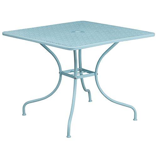 Flash Furniture 35.5'' Square Sky Blue Indoor-Outdoor Steel Patio Table (Umbrella Patio Metal)