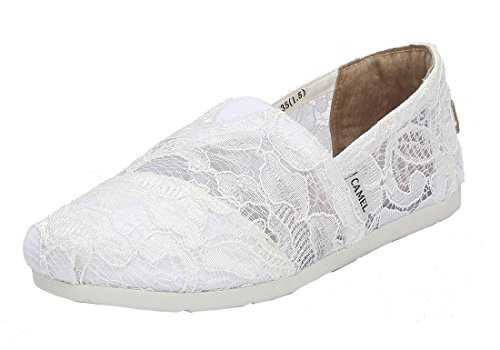 Camel Women's Slip on Shoes Classic Casual Flats Mesh Comfort Loafers Color White Size 8 by Camel