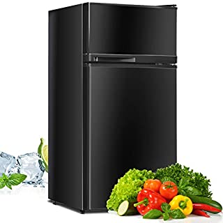 Compact Refrigerator, Safeplus 3.4 cu ft. Unit Cold-rolled Sheet Mini Refrigerator with freezer, Dorm fridge with Adjustable Removable Shelves (Black)