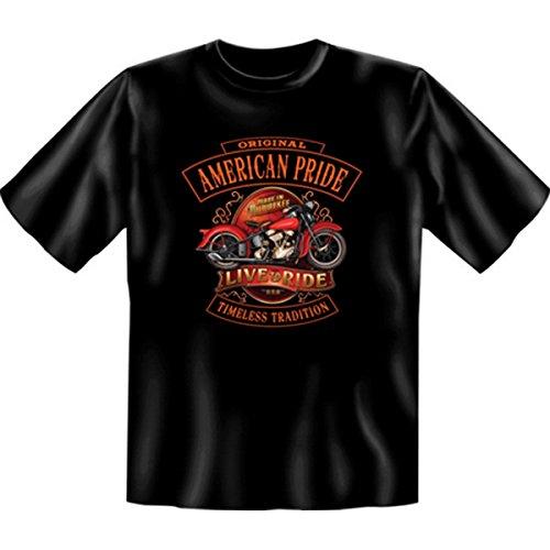 Motorradfahrer T-Shirt American Pride - Live and Ride (Größe: XXL) Fb schwarz auch in 3xL 4xL 5xL