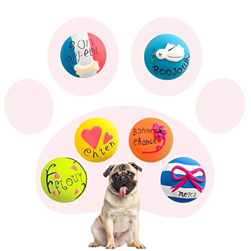 HOLYSTEED Latex Squeaky Dog Toys, Dog Rubber Squeaky Balls, Soft Dog Squeak Toys, Dog Chewing Toy Squeaky Ball for Small, Medium Dog Gentle Chew, Chase, Fetch 6pcs/Set (6pcs Macaroon - Balls Dog Soft Toy Chew