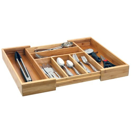 Expandable Bamboo Cutlery Tray / Drawer Organizer / Silverware Storage by Storage Technologies