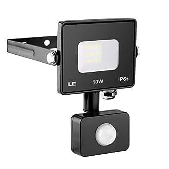 LE Outdoor LED Flood Light, Motion Sensor, IP65 Waterproof, 10W 800 Lumen, 100W Halogen Bulb Equivalent, Daylight White 5000K, Home Security Light for Warehouse, Garage, Garden, Yard and More(No Plug)