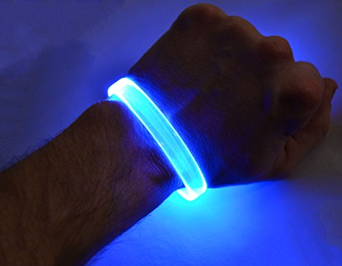 GlowCity LED Light Up Bracelets (Blue),2-pack -