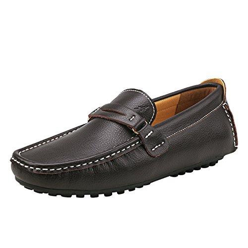 Shenduo Herren Lackleder Lederschuhe Freitzeit Schuhe für Klassischer Mokassin Bootsschuhe D3328 Kaffee