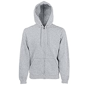 "Fruit Of The Loom Mens Premium 70/30 Hooded Zip-Up Sweatshirt / Hoodie (XL (Chest 44-46"")) (Heather Grey)"