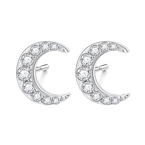 S925 Sterling Silver Cz Crescent Moon Stud Earrings