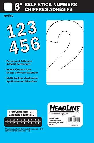 Headline Sign 32622 Stick-On Vinyl Numbers, White, - Stickers Vinyl Numbers