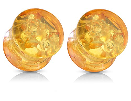 """Pierced Owl Imitation Amber Double Flared Solid Saddle Plugs, Sold as a Pair (25mm (1""""))"""