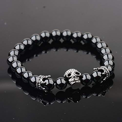 Mikash 8mm CZ Gold Imperial Crown ET Skull Charm Bracelets Natural Agate Bead Bracelets | Model BRCLT - 39432 |