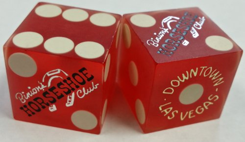 Pair of Binion's Horseshoe Club Casino Red Dice - Downtown Las Vegas