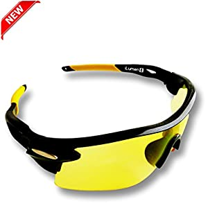 BEST Shooting Glasses UV Blacklight Flashlight Yellow Safety Eye protection by iLumen8. See Dog Cat Urine with Amber Black Lights Night Vision Ultraviolet (Yellow, 1 Pair)