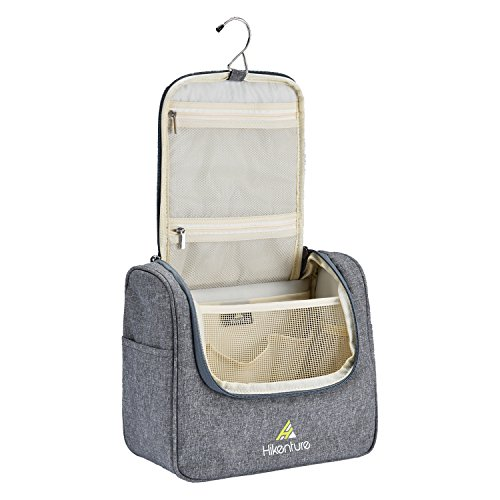 Price comparison product image Travel Hanging Toiletry Bag by Hikenture | Cosmetics, Makeup and Toiletries Organizer | Compact Bathroom Storage | TSA Friendly | Home, Gym, Airplane, Hotel, Car Use(Grey)