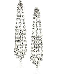 Womens E-Della Drop Earrings, Rhodium/White, One Size