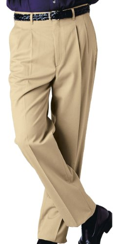 Edwards Garment Men's Tall Business Casual Chino Pleated Pant, KHAKI, 32 35 - Mens Blended Chino