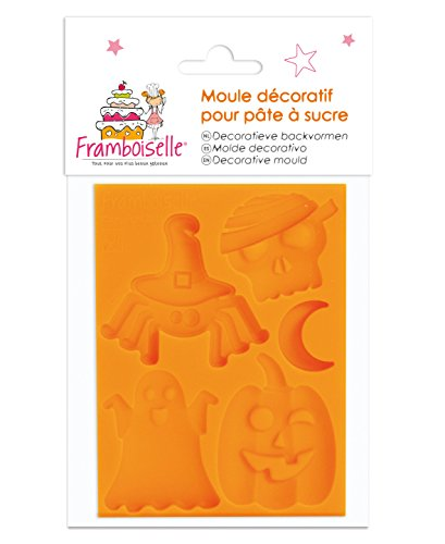 Framboiselle fra8920 Silicone Mould for Sugar Paste Halloween Orange 6x8x0.8 cm -