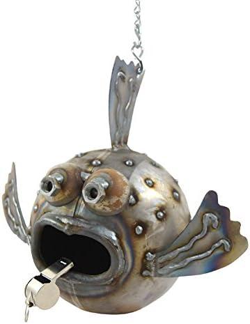 Modern Artisans Whimsical Blowfish Reclaimed Metal Hanging Garden Sculpture
