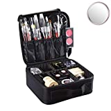 Idearsen Travel Make up Train Case, Waterproof Portable Storage Comestic Case, Professional Makeup Organizer Bag with Adjustable Dividers, Accessories Tools Case Brush Pouch for Men Women Girls (Black-EVA)