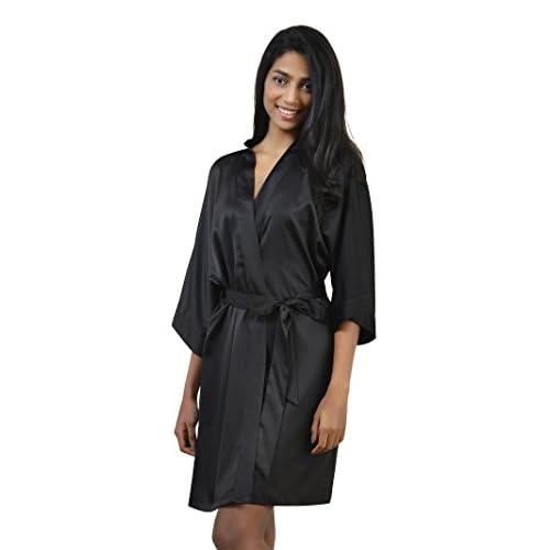 9063acc982 good SIORO Kimono Robe Bridesmaid Satin Sleepwear V-neck Sexy Nightgowns  for Women Short XS