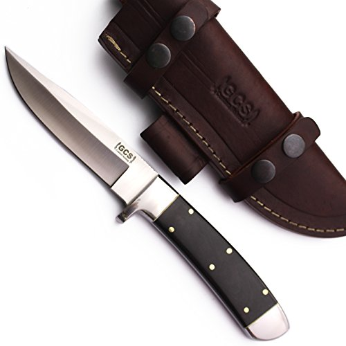 GCS Custom Handmade Black Micarta Handle D2 Tool Steel Dagger Skinner Bushcraft Knife Knives Bowie Buffalo Hide Sheath (Bone Handled Skinning Knife)