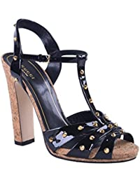 Women's Black Patent Leather Open Toe High Heel Sandals Shoes