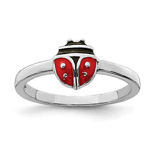 925 Sterling Silver Childs Enameled Ladybug Band Ring Size 3.00 Butterfly Fine Jewelry Gifts For Women For Her