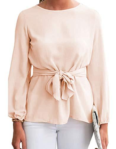 - JINTING Women Elegant Long Sleeve Tie Front Solid Chiffon Blouse Top Shirt Size XL (White)
