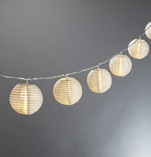 String Of Lantern Lights Indoor : Set of 10 White Indoor/Outdoor Mini Oriental Style Nylon - Import It All