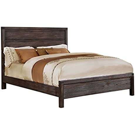 HOMES Inside Out IDF 7382Q Gerrard Rustic Bed Queen Wire Brushed Rustic Brown
