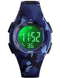 Kids Watch Sport Multi Function 30M Waterproof LED Alarm Stopwatch Digital Child Wristwatch for Boy Girl (Blue Camouflage)