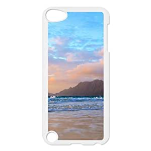iPhone 5,5S Case,Mountains Beach Waves Hard Shell Back Case for White iPhone 5,5S Okaycosama308016