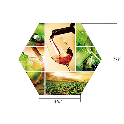 Hexagon Wall Sticker,Mural Decal,Wine,Wine Tasting and Grapevine Collage Green Fresh Field Pouring Drink Delicious Decorative,Green Ruby Caramel,for Home Decor 4.52x7.87 10 Pcs/Set