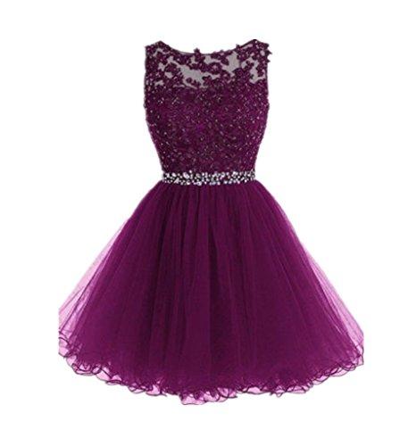 Ball Girls Short Cocktail for Drasawee Teen Gowns Dresses Grape Tulle Evening Prom qBfwvxB