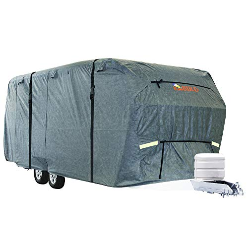 (KING BIRD Extra-Thick 4-Ply Top Panel & Extra 2Pcs Reinforced Straps, Deluxe Camper Travel Trailer Cover, Fits 20'- 22' RV Cover -Breathable Water-Repellent Anti-UV with Storage Bag&Tire Covers )