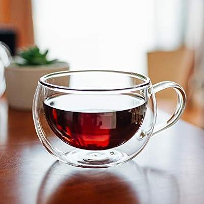 BTäT- Insulated Coffee Cups, Set of 4 (10 oz, 300 ml), Double Wall Glass Tea Cups, Glass Cups, Glass Mug, Glass Coffee Cups, Latte Cups, Latte Mug, Clear Mugs, Glass Cappuccino Cups, Glass Coffee Mugs
