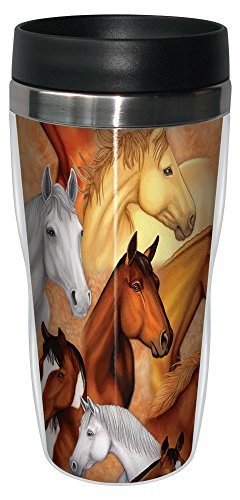 Horse Heads Collectible Art Travel Mug, Stainless Lined Coffee Tumbler, 16-Ounce - Gift for Horse People and Lovers - Tree-Free Greetings 77135